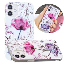 Magnolia Painted Galvanized Electroplating Soft Phone Case Cover for iPhone 12 mini (5.4 inch)