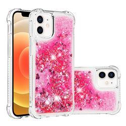 Dynamic Liquid Glitter Sand Quicksand TPU Case for iPhone 12 mini (5.4 inch) - Pink Love Heart