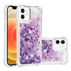Dynamic Liquid Glitter Sand Quicksand Star TPU Case for iPhone 12 mini (5.4 inch) - Purple