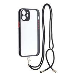 Necklace Cross-body Lanyard Strap Cord Phone Case Cover for iPhone 12 mini (5.4 inch) - Black