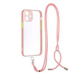 Necklace Cross-body Lanyard Strap Cord Phone Case Cover for iPhone 12 mini (5.4 inch) - Pink