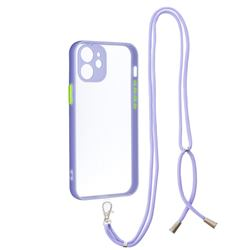 Necklace Cross-body Lanyard Strap Cord Phone Case Cover for iPhone 12 mini (5.4 inch) - Purple