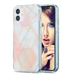 Pink White Marble Pattern Galvanized Electroplating Protective Case Cover for iPhone 12 mini (5.4 inch)
