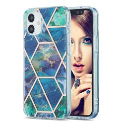 Blue Green Marble Pattern Galvanized Electroplating Protective Case Cover for iPhone 12 mini (5.4 inch)