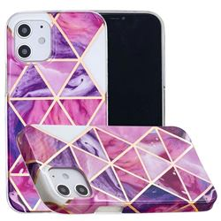 Purple Dream Triangle Painted Marble Electroplating Protective Case for iPhone 12 mini (5.4 inch)