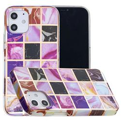 Square Puzzle Painted Marble Electroplating Protective Case for iPhone 12 mini (5.4 inch)
