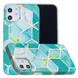 Green Glitter Painted Marble Electroplating Protective Case for iPhone 12 mini (5.4 inch)