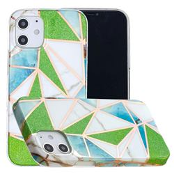 Green Triangle Painted Marble Electroplating Protective Case for iPhone 12 mini (5.4 inch)