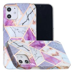 Purple and White Painted Marble Electroplating Protective Case for iPhone 12 mini (5.4 inch)