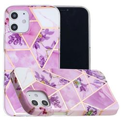 Purple Flower Painted Marble Electroplating Protective Case for iPhone 12 mini (5.4 inch)