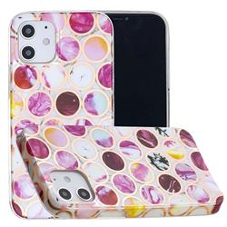 Round Puzzle Painted Marble Electroplating Protective Case for iPhone 12 mini (5.4 inch)
