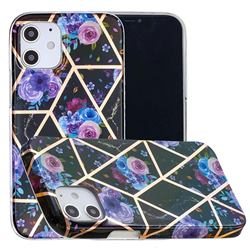 Black Flower Painted Marble Electroplating Protective Case for iPhone 12 mini (5.4 inch)