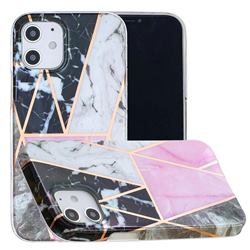 Pink and Black Painted Marble Electroplating Protective Case for iPhone 12 mini (5.4 inch)