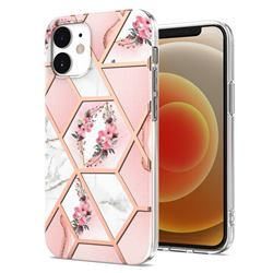 Pink Flower Marble Electroplating Protective Case Cover for iPhone 12 mini (5.4 inch)