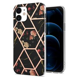 Black Rose Flower Marble Electroplating Protective Case Cover for iPhone 12 mini (5.4 inch)