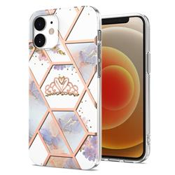Crown Purple Flower Marble Electroplating Protective Case Cover for iPhone 12 mini (5.4 inch)