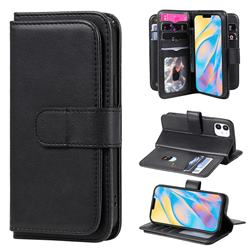 Multi-function Ten Card Slots and Photo Frame PU Leather Wallet Phone Case Cover for iPhone 12 mini (5.4 inch) - Black