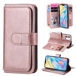 Multi-function Ten Card Slots and Photo Frame PU Leather Wallet Phone Case Cover for iPhone 12 mini (5.4 inch) - Rose Gold