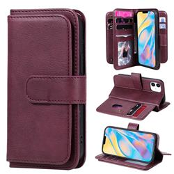 Multi-function Ten Card Slots and Photo Frame PU Leather Wallet Phone Case Cover for iPhone 12 mini (5.4 inch) - Claret