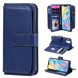 Multi-function Ten Card Slots and Photo Frame PU Leather Wallet Phone Case Cover for iPhone 12 mini (5.4 inch) - Dark Blue