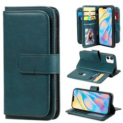 Multi-function Ten Card Slots and Photo Frame PU Leather Wallet Phone Case Cover for iPhone 12 mini (5.4 inch) - Dark Green