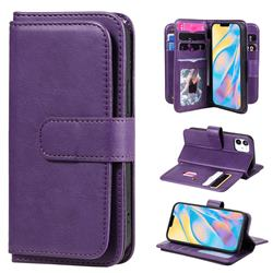 Multi-function Ten Card Slots and Photo Frame PU Leather Wallet Phone Case Cover for iPhone 12 mini (5.4 inch) - Violet