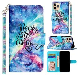 Blue Starry Sky 3D Leather Phone Holster Wallet Case for iPhone 12 mini (5.4 inch)