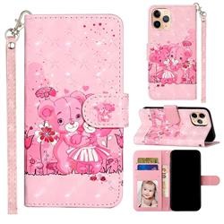 Pink Bear 3D Leather Phone Holster Wallet Case for iPhone 12 mini (5.4 inch)