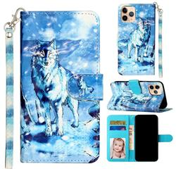 Snow Wolf 3D Leather Phone Holster Wallet Case for iPhone 12 mini (5.4 inch)