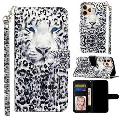 White Leopard 3D Leather Phone Holster Wallet Case for iPhone 12 mini (5.4 inch)