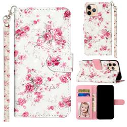 Rambler Rose Flower 3D Leather Phone Holster Wallet Case for iPhone 12 mini (5.4 inch)