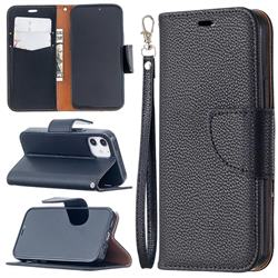 Classic Luxury Litchi Leather Phone Wallet Case for iPhone 12 mini (5.4 inch) - Black