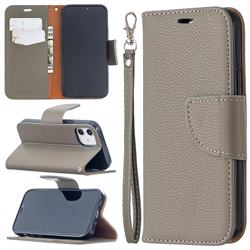 Classic Luxury Litchi Leather Phone Wallet Case for iPhone 12 mini (5.4 inch) - Gray