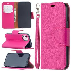 Classic Luxury Litchi Leather Phone Wallet Case for iPhone 12 mini (5.4 inch) - Rose