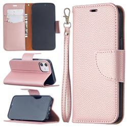 Classic Luxury Litchi Leather Phone Wallet Case for iPhone 12 mini (5.4 inch) - Golden