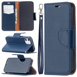 Classic Luxury Litchi Leather Phone Wallet Case for iPhone 12 mini (5.4 inch) - Blue