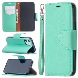 Classic Luxury Litchi Leather Phone Wallet Case for iPhone 12 mini (5.4 inch) - Green