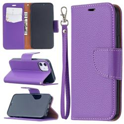 Classic Luxury Litchi Leather Phone Wallet Case for iPhone 12 mini (5.4 inch) - Purple