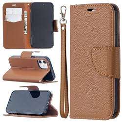 Classic Luxury Litchi Leather Phone Wallet Case for iPhone 12 mini (5.4 inch) - Brown