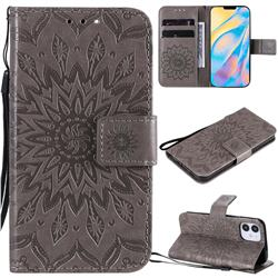 Embossing Sunflower Leather Wallet Case for iPhone 12 (5.4 inch) - Gray