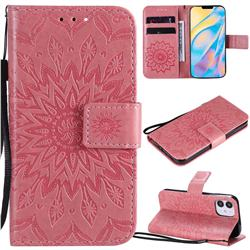 Embossing Sunflower Leather Wallet Case for iPhone 12 mini (5.4 inch) - Pink