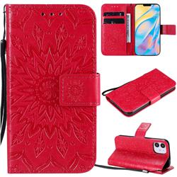 Embossing Sunflower Leather Wallet Case for iPhone 12 (5.4 inch) - Red