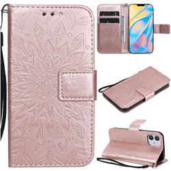 Embossing Sunflower Leather Wallet Case for iPhone 12 (5.4 inch) - Rose Gold