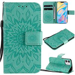 Embossing Sunflower Leather Wallet Case for iPhone 12 mini (5.4 inch) - Green