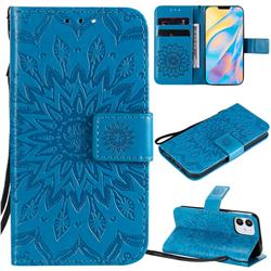 Embossing Sunflower Leather Wallet Case for iPhone 12 (5.4 inch) - Blue