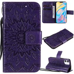 Embossing Sunflower Leather Wallet Case for iPhone 12 mini (5.4 inch) - Purple
