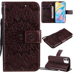 Embossing Sunflower Leather Wallet Case for iPhone 12 (5.4 inch) - Brown