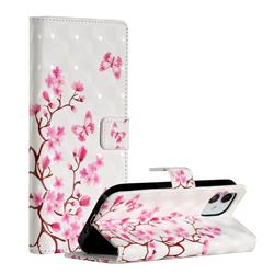 Butterfly Sakura Flower 3D Painted Leather Phone Wallet Case for iPhone 12 (5.4 inch)
