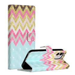 Color Wave 3D Painted Leather Phone Wallet Case for iPhone 12 (5.4 inch)