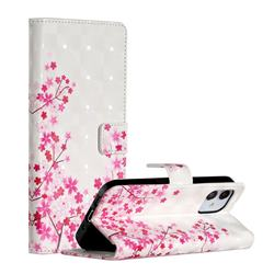 Cherry Blossom 3D Painted Leather Phone Wallet Case for iPhone 12 (5.4 inch)